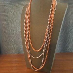 2 Vintage Faux Pearl Opera Necklaces